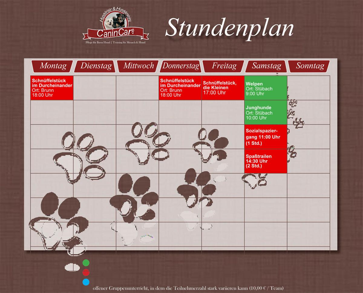 Der Hundetraining Stundenplan von CaninCare zum downloaden